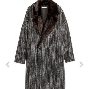 H&M Wool Blend Coat With Faux Fur Collar